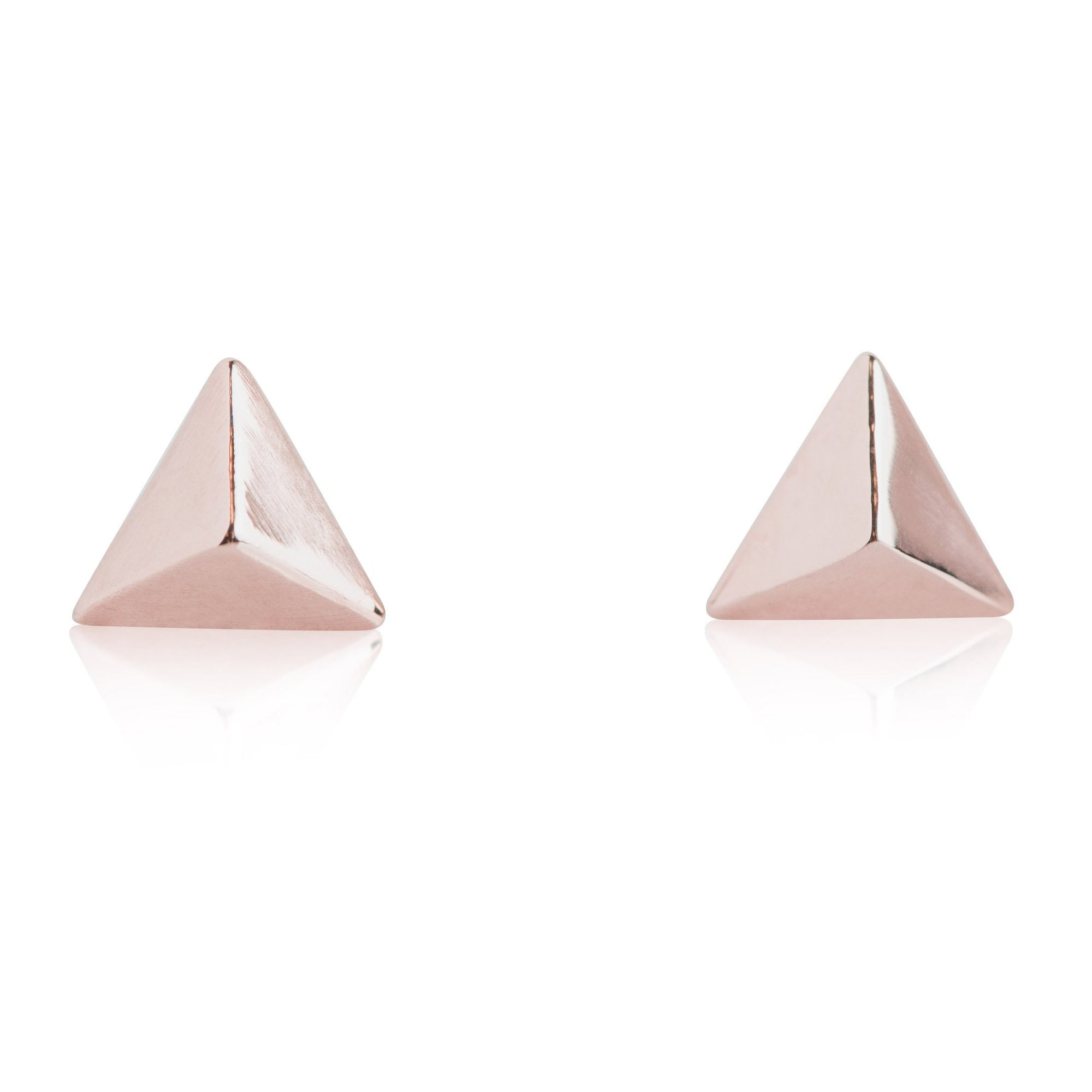 14 KARAT YELLOW, ROSE, OR WHITE GOLD PYRAMID STUD EARRINGS