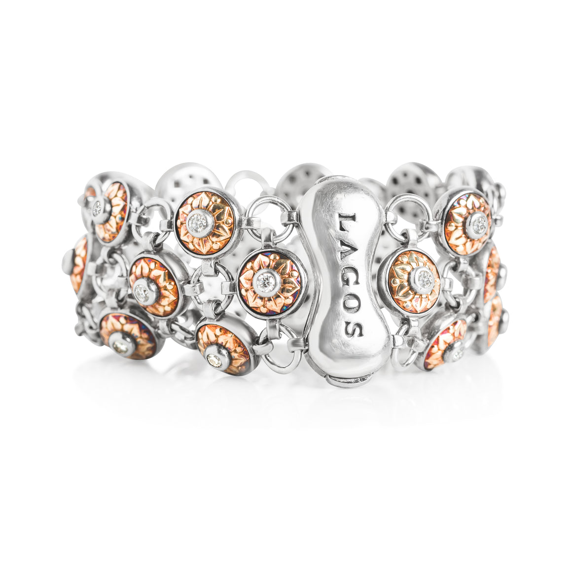 LAGOS ESTATE BRACELET WITH YELOW GOLD, STERLING SILVER AND ROUND DIAMONDS WITH FLOWER PATTERN