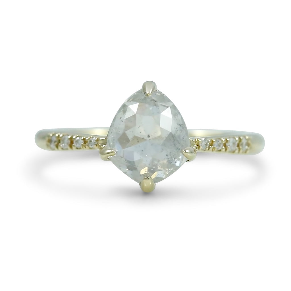 14k yellow gold rose cut pear shaped shield canada diamond with diamonds on the band.