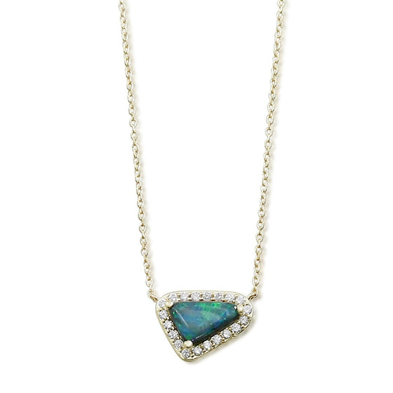 triangular shaped black opal necklace with a white diamond halo and 14k yellow gold chain