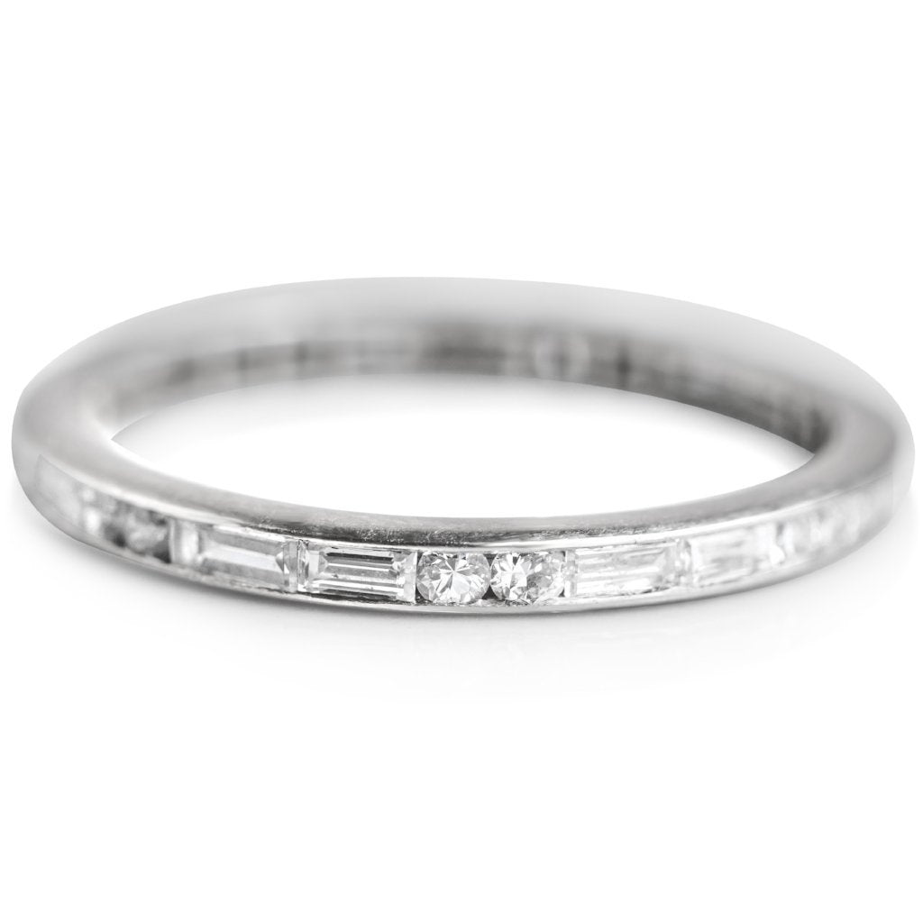 BAGUETTE AND ROUND DIAMOND ETERNITY ESTATE PLATINUM WEDDING BAND