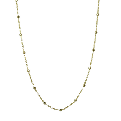 14k yellow gold 1.7mm wide beaded 16in long chain under $500