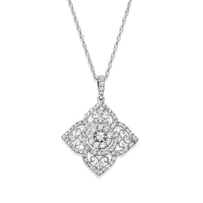 14k white gold diamond flower necklace with milgrain details and an intricate diamond halo with a 16-18in chain