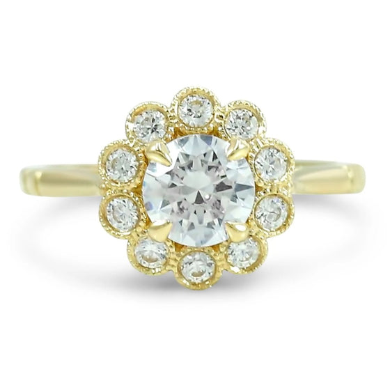 ready to ship diamond engagement ring with bezel set milgrain flower halo cathedral setting available with a round or oval diamond various metals available perfect nontraditional engagement ring