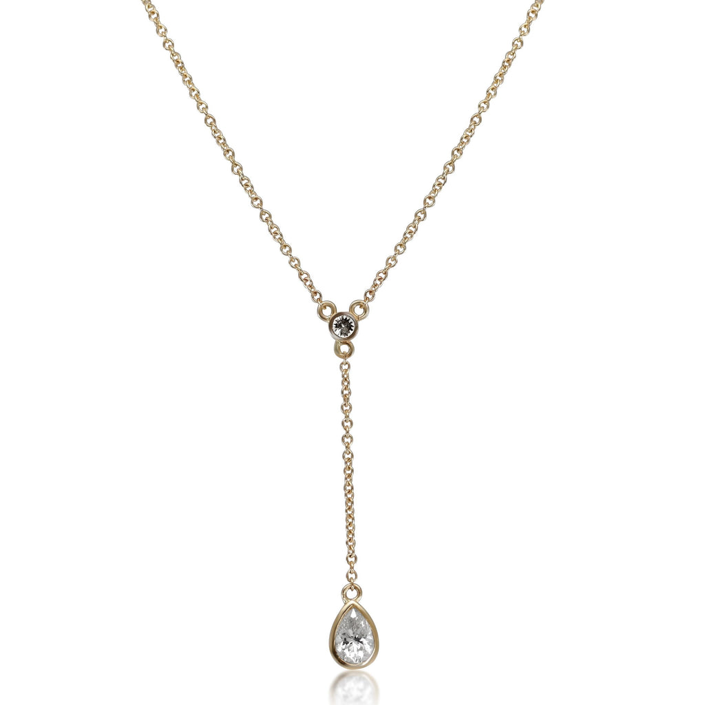 BEZEL SET WHITE DIAMOND DROP NECKLACE ON A YELLOW GOLD CHAIN