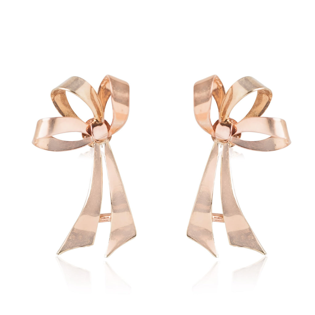 YELLOW AND ROSE GOLD ESTATE BOW EARRINGS