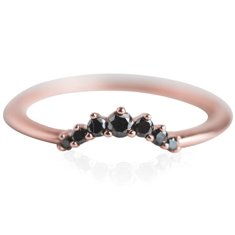 black diamond and rose gold stack ring with simple band