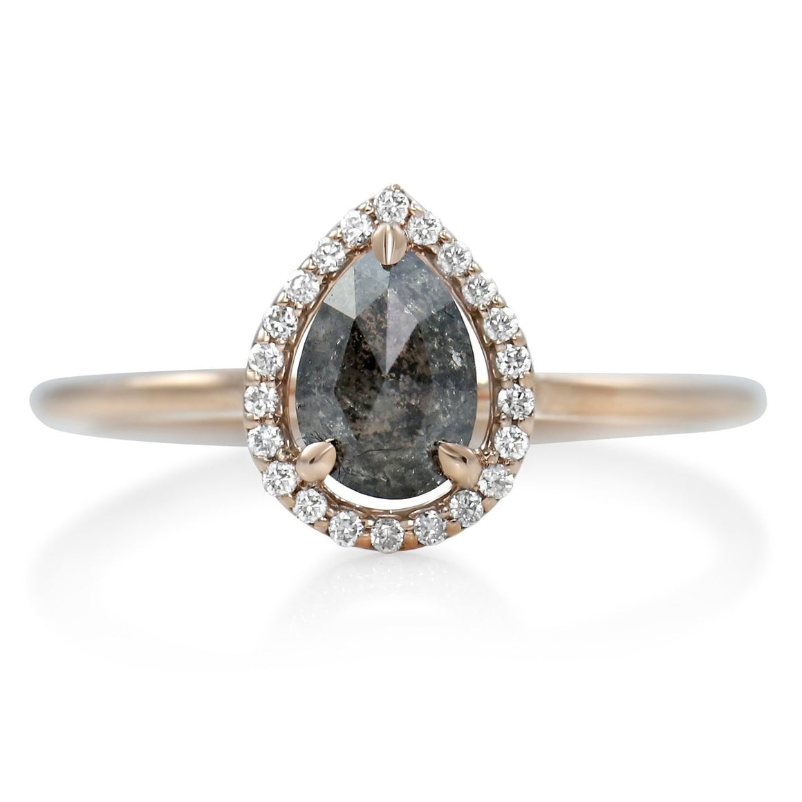 pear shaped gray diamond right hand ring with a white diamond halo and rose gold band