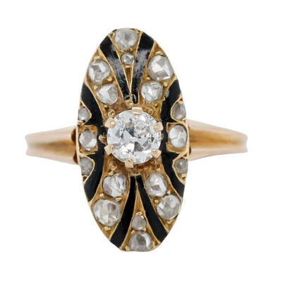 18k yellow gold diamond estate dinner ring with an old european cut diamond and black enamel details