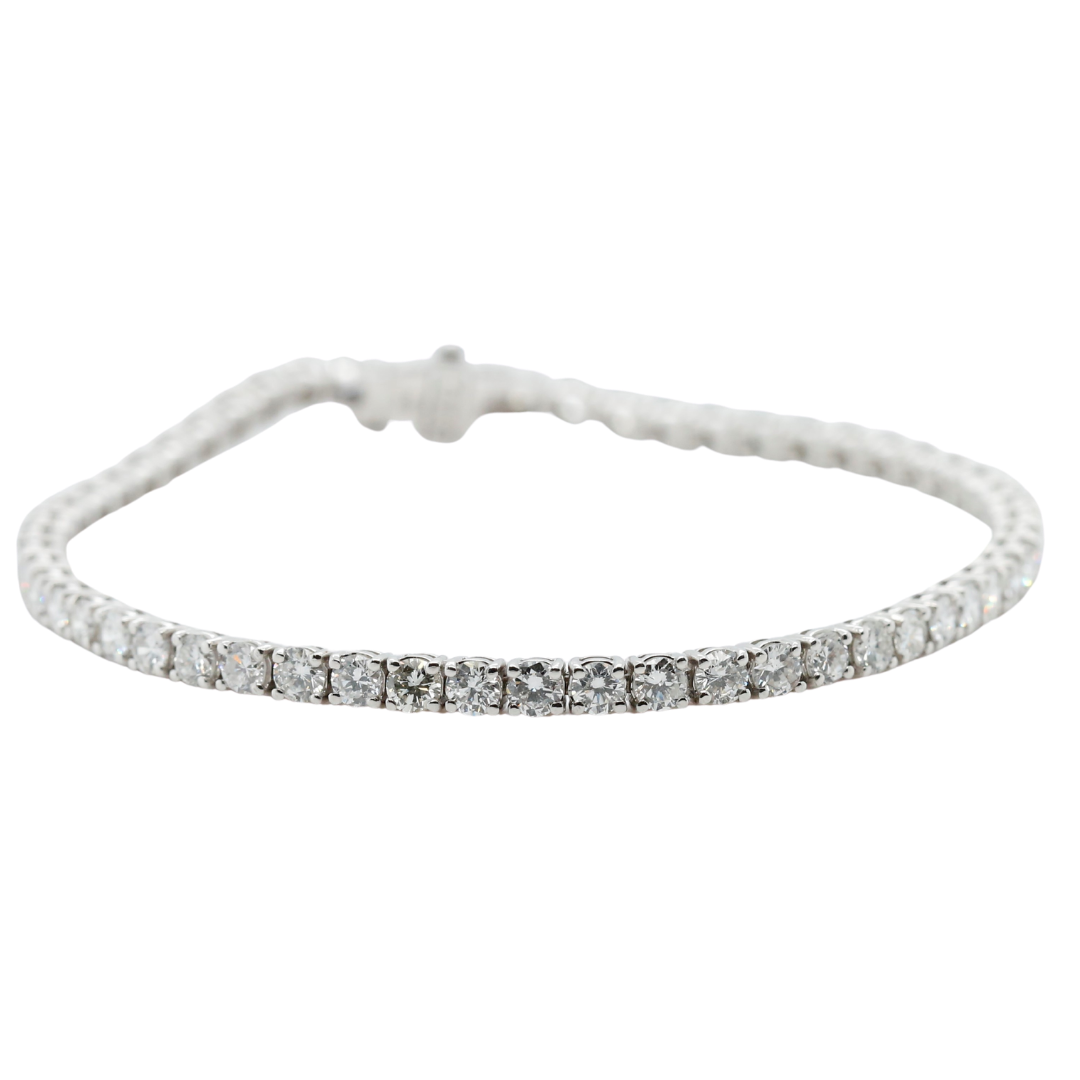 14k white gold diamond tennis bracelet estate piece 8in long