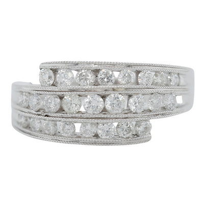14k white gold wrap diamond estate ring with round channel set diamonds and milgrain details
