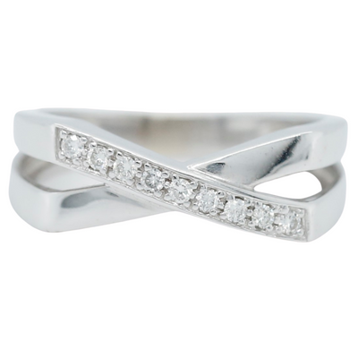 14k white gold estate diamond X ring with round diamonds