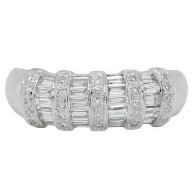 18k white gold baguette and round diamond estate ring with alternating vertical rows of diamonds