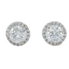 14k white gold estate diamond martini stud earrings with matching diamond halos