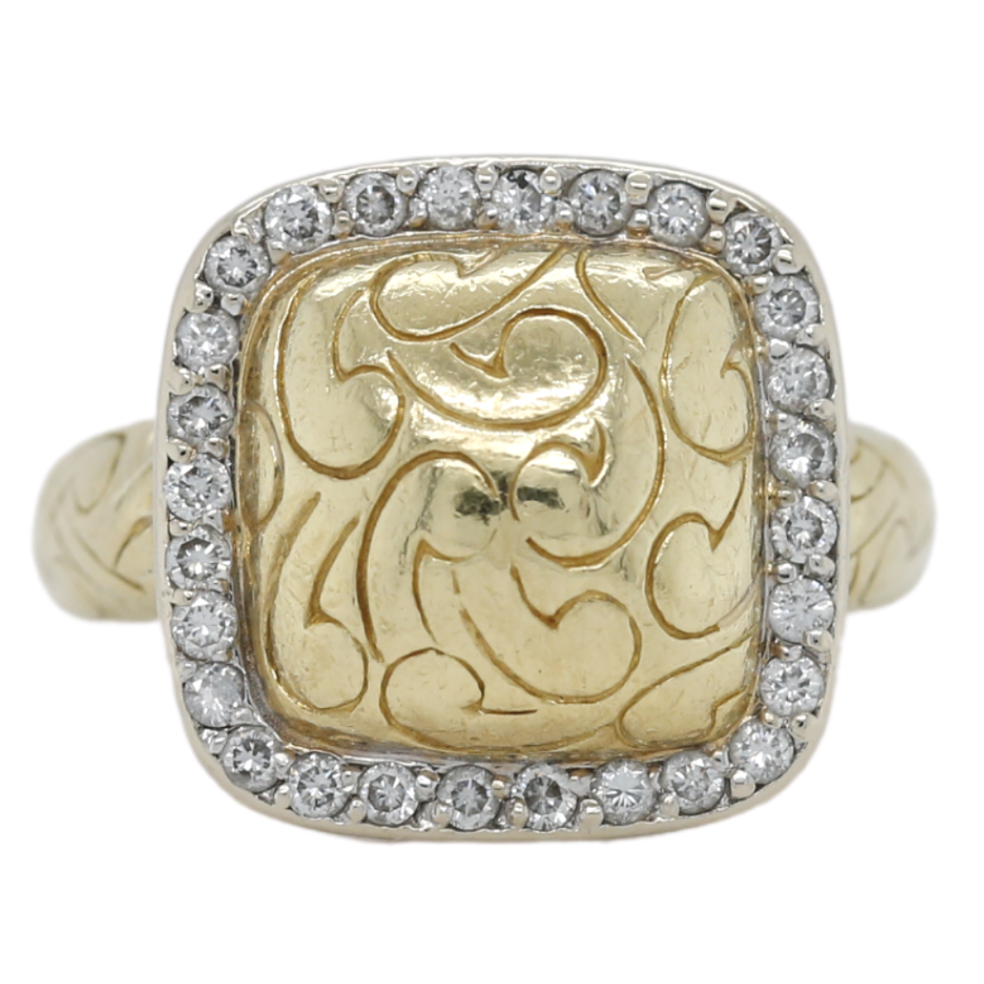 18k yellow gold chunky square shaped estate ring with an engraved pattern and diamond halo