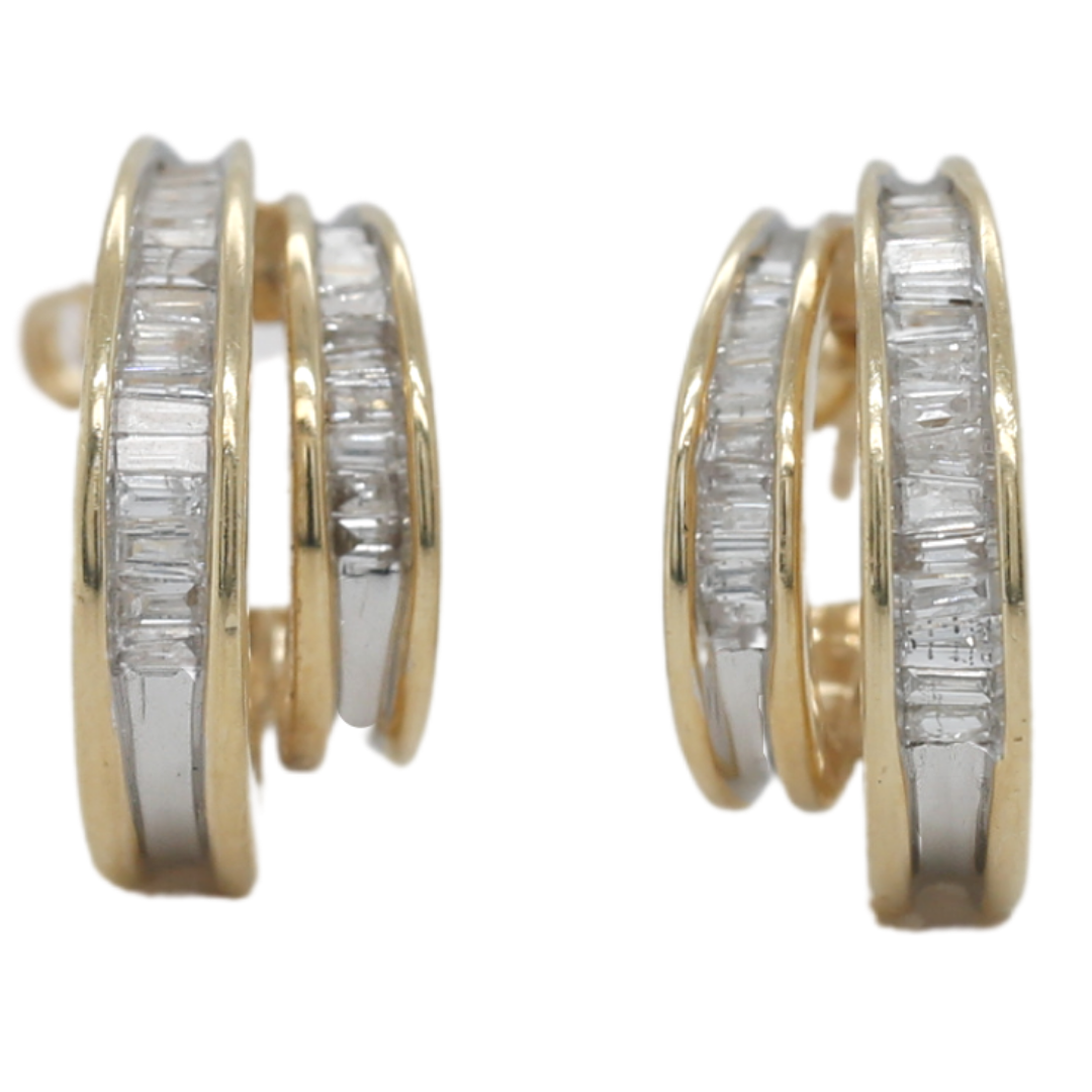 14k yellow and white gold baguette diamond double hoop estate post earrings