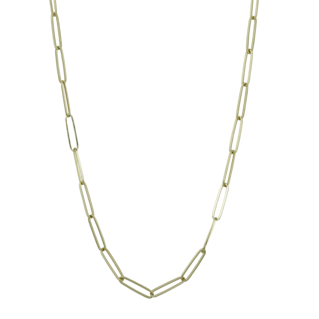 14k yellow gold elongated chain link necklace 16in long under $1000