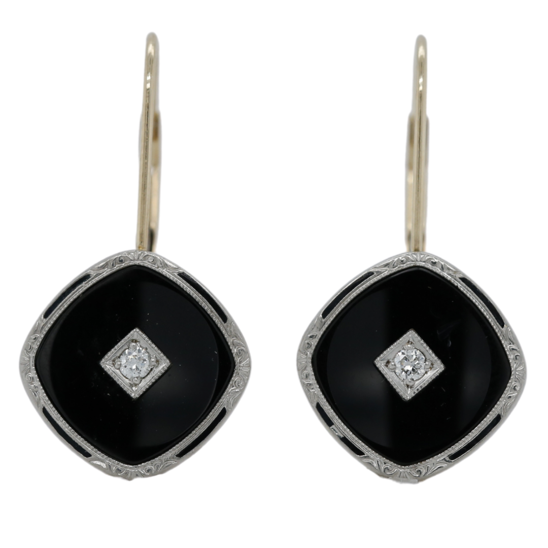 18k yellow gold black enamel antique dangle earrings with two round diamonds, milgrain and a pretty engraved pattern