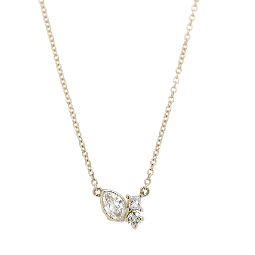 14k yellow gold cluster diamond everyday necklace with 16in chain and mix of marquise, round and princess cut diamonds
