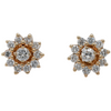 14k yellow gold estate diamond flower stud earrings with detachable earring jackets