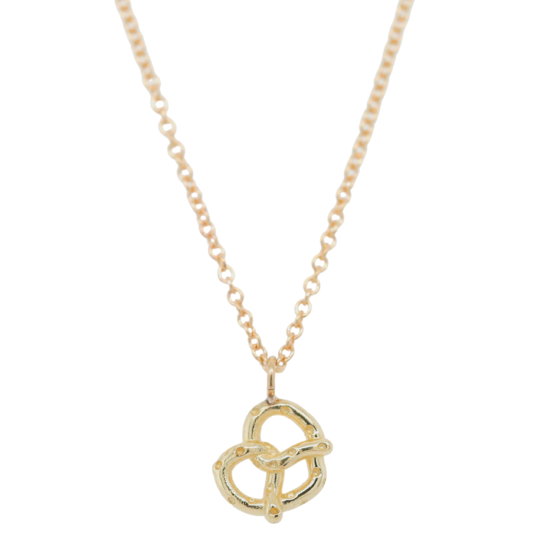 14k yellow gold or sterling silver pretzel necklace 16in long chain under 500 everyday necklace