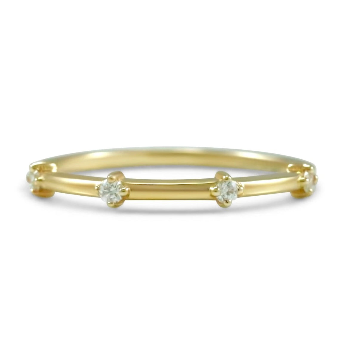 diamond wedding band prong set round diamonds available in 14k yellow, white and rose gold