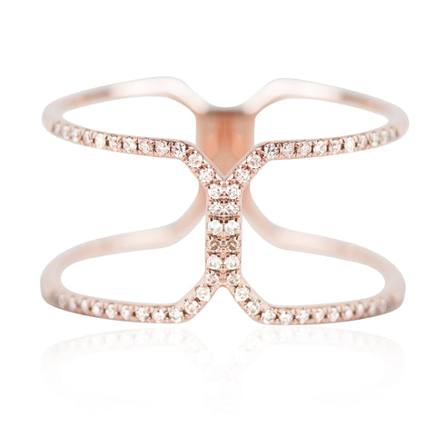 rose gold and white diamond right hand ring with negative space