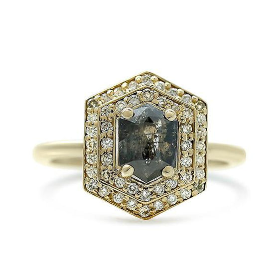 hexagon salt and pepper diamond ring with a double white diamond halo and yellow gold band