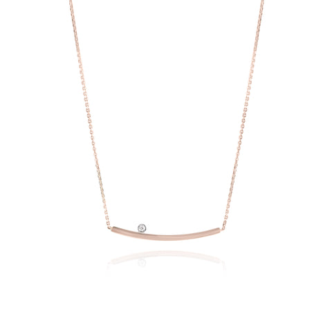 yellow gold and diamond curved bar necklace