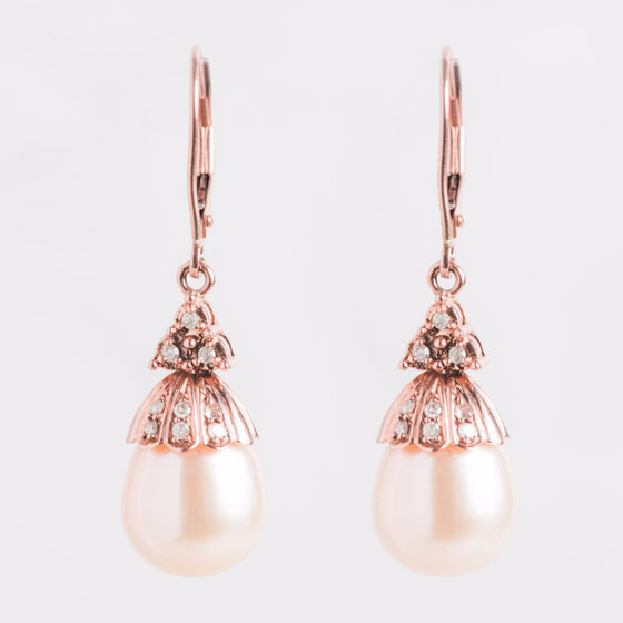 Rose Gold Diamond and Pearl Earrings