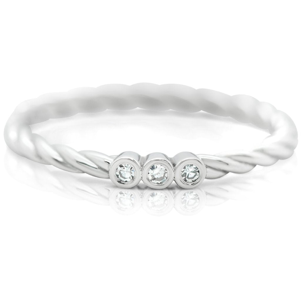 white diamond stack ring with white gold braided band