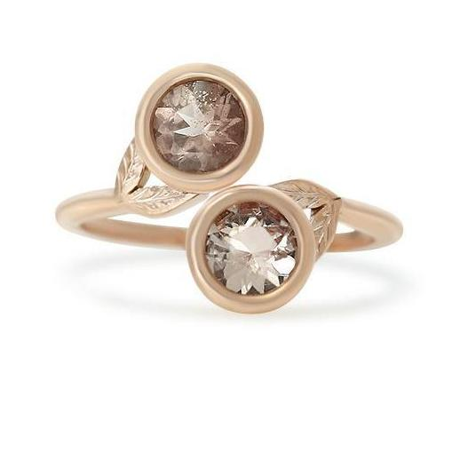 open bypass style right hand ring with Oregon sunstones and rose gold band and leaves