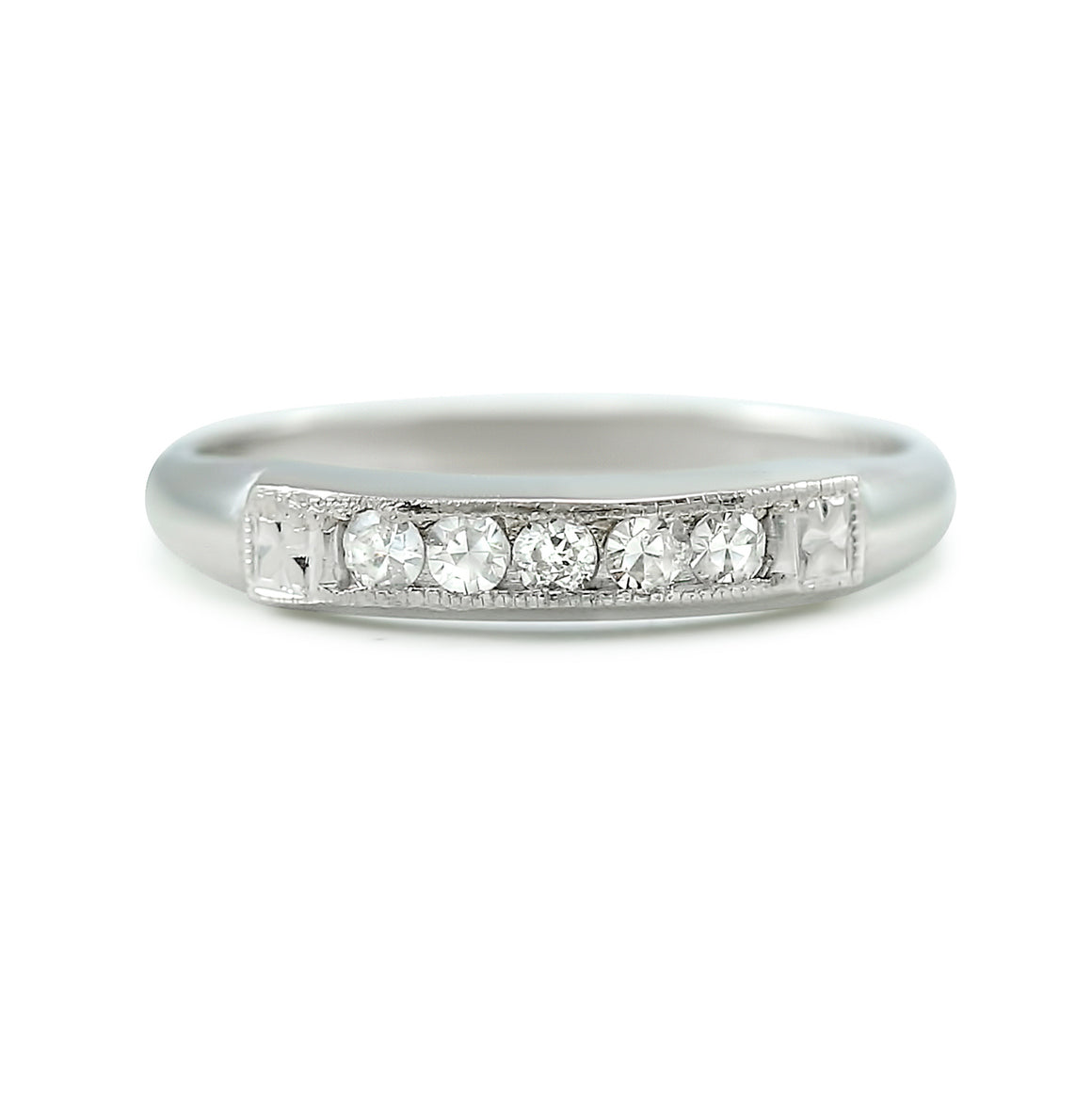 14k white gold estate wedding band with channel set white diamonds totaling ~0.25ct
