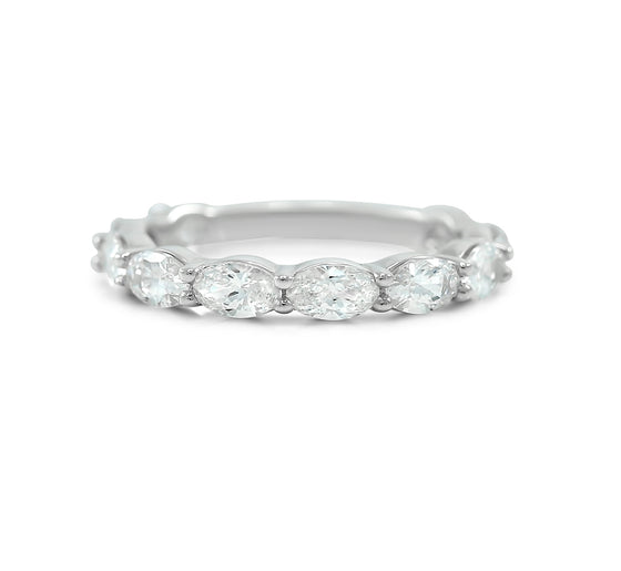 east west set oval diamond eternity wedding band ~3.0tcw diamonds available in platinum or 14k yellow, rose or white gold