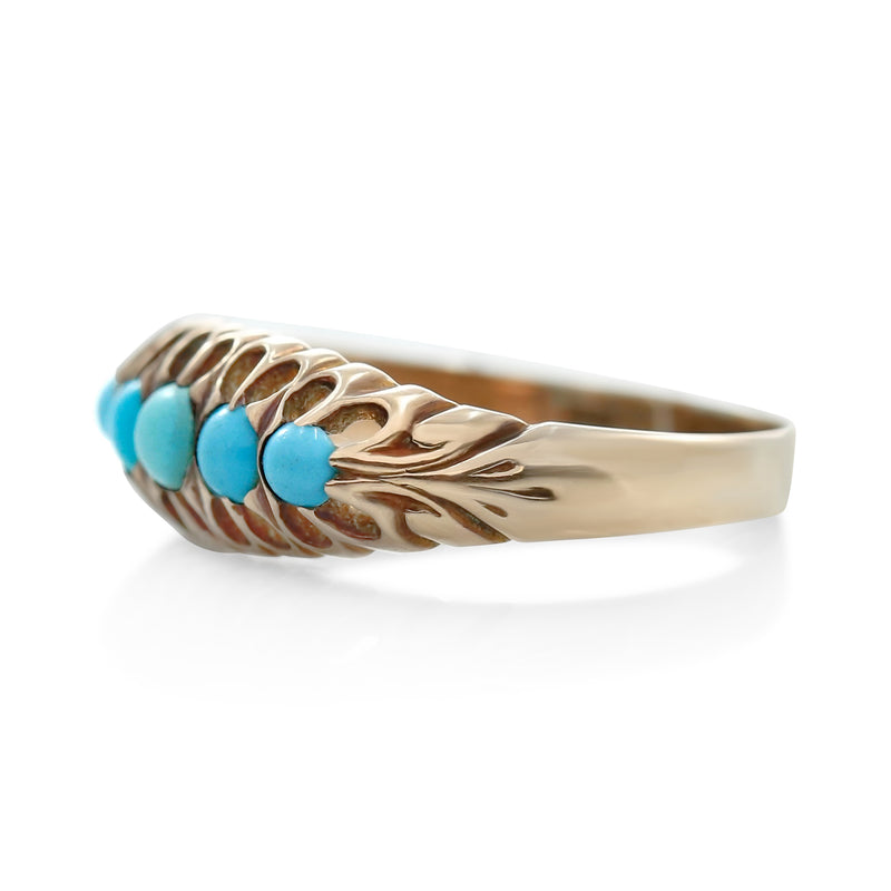 turquoise and yellow gold victorian right hand ring