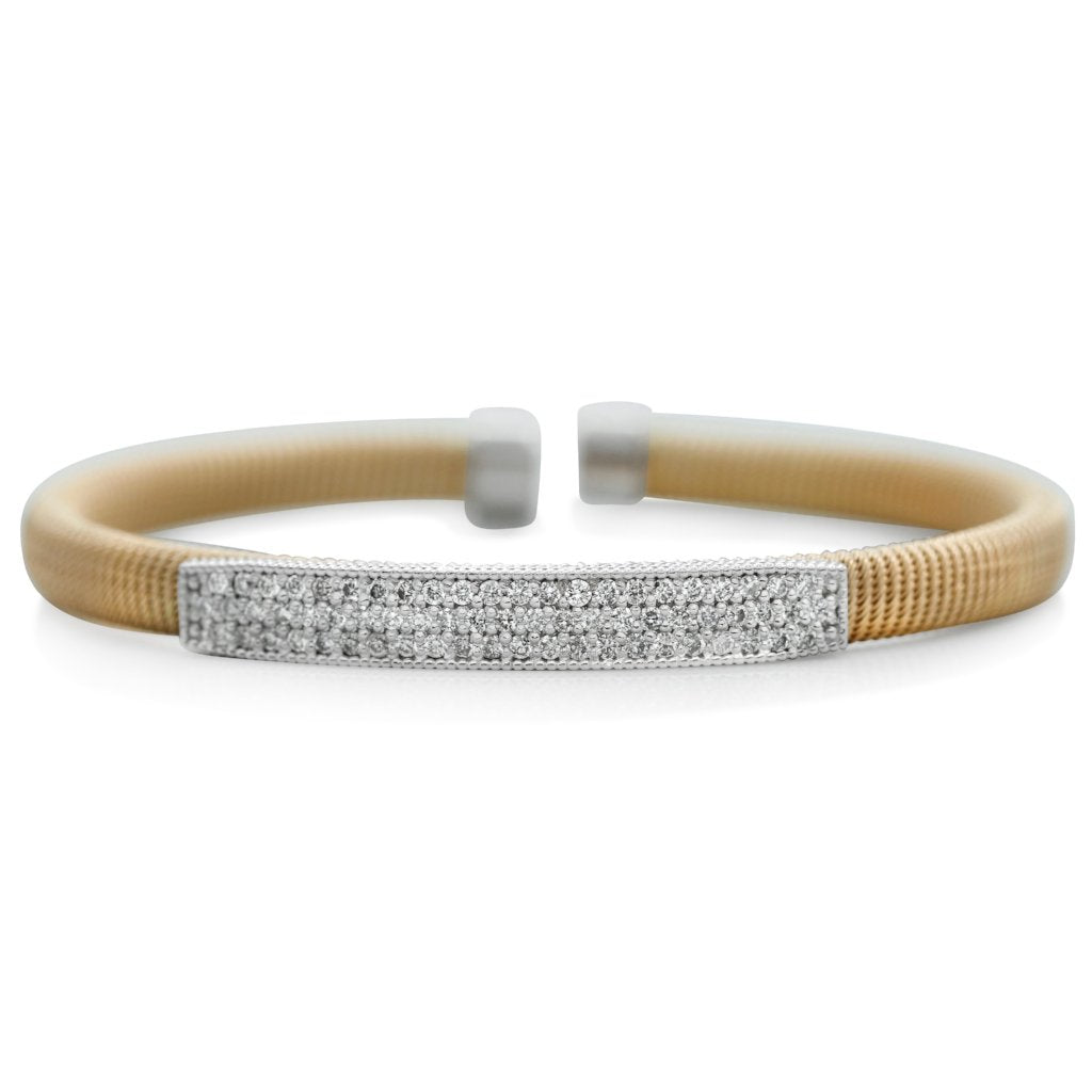 yellow and white gold diamond estate bracelet