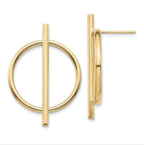 circle and bar hoop post earrings in yellow gold