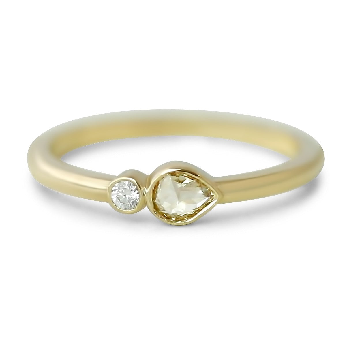 14k yellow gold rose cut pear and round diamond bezel set ring