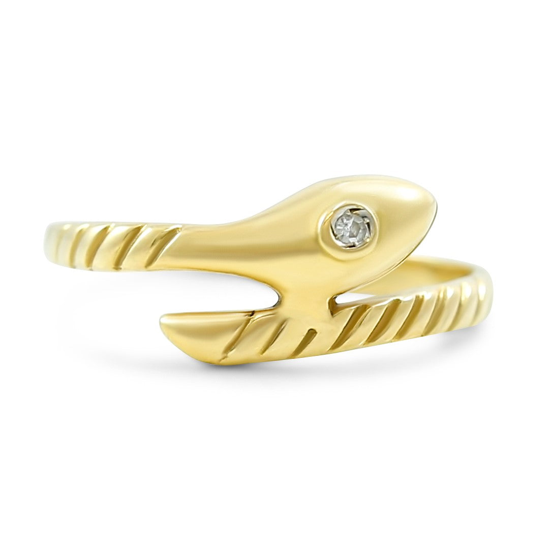 14k yellow gold snake ring made in the 1800's antique ring with 0.01ct bezel set diamond and engraved pattern