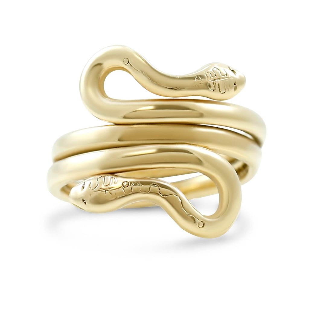 victorian double rail snake ring is 9k yellow gold made in the late 1800's