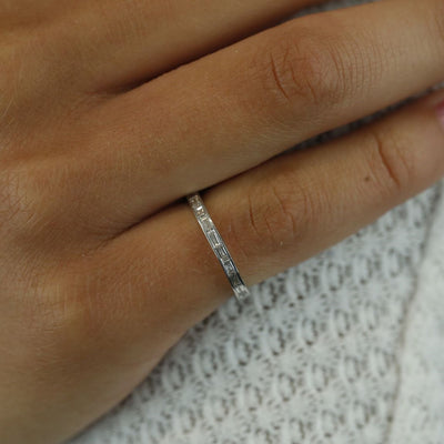 18k white gold baguette diamond eternity channel set wedding band