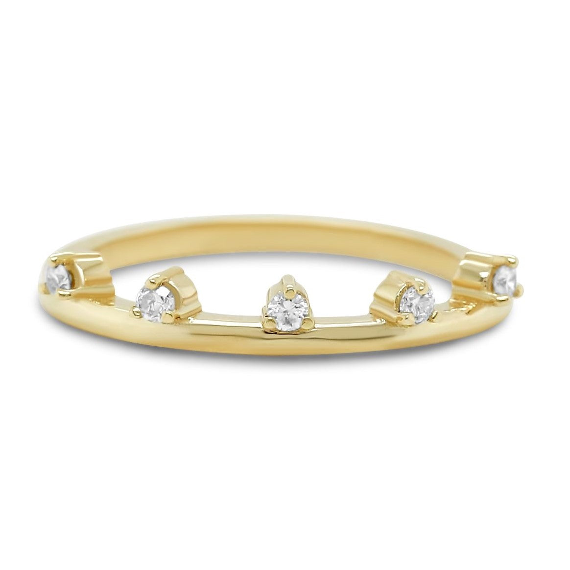 14k yellow, rose or white gold three prong diamond wedding band