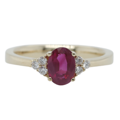 14k yellow gold red ruby estate engagement ring with clusters of three diamonds on each side of the center stone
