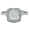 14k white gold rose cushion cut praseolite gemstone estate engagement ring with a diamond halo and milgrain details