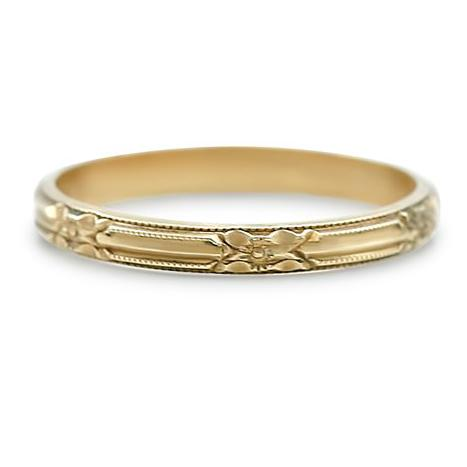 10k yellow gold hand engraved estate wedding band