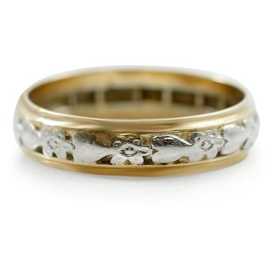 two toned white and yellow gold wedding band with hand engraving from the victorian era