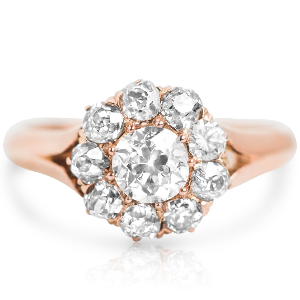14 karat rose gold diamond victorian estate engagement ring