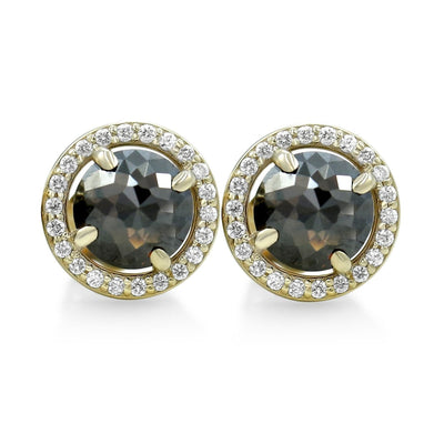 black diamond rose cut earrings with yellow gold posts and diamond halos