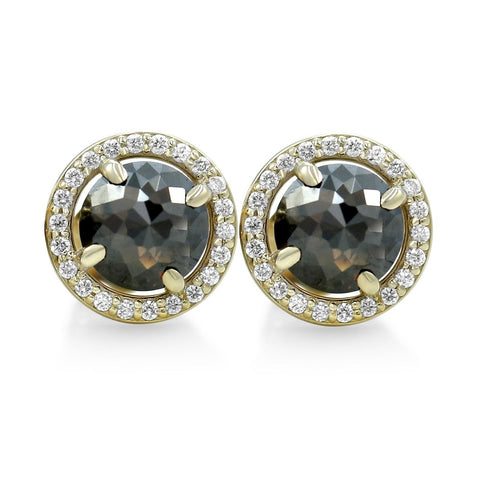 black diamond stud earrings with whit diamond halo and yellow gold posts