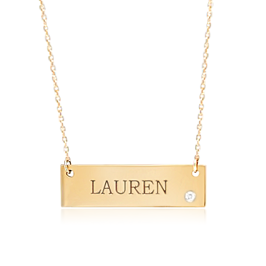 customizable name necklace yellow gold with name engraved and a white diamond
